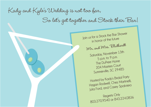 graphically ever after: kady and kyle's stock the bar invitations, Party invitations