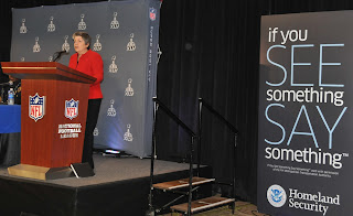 Secretary Napolitano addresses a news conference on DHS partnership with the NFL for security at Super Bowl XLV. Photo courtesy of: CBP