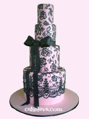 cakelava: Pretty Pink and Black Lace Wedding Cake