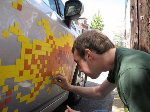 Auto Toyota con decoracin de Stickers en 8 Bits