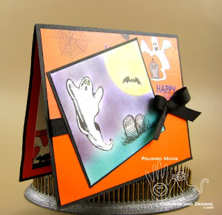 Picture of the front of the Halloween card set at an angle to show dimension of the card