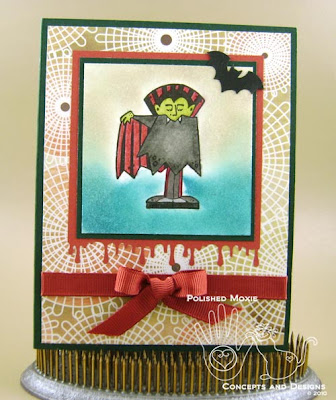Picture of the front of the vampire Halloween card
