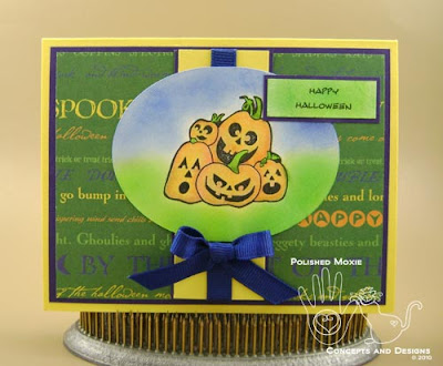 Image of front of Pile of Pumpkin Jack-o-lanterns Halloween card