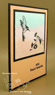 Picture of the sympathy card set at an angle to show the dimension on the front of the card