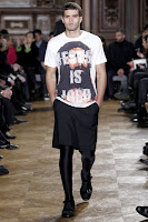 Givenchy's Fall 2010 Men's line features several outfits incorporating spandex tights