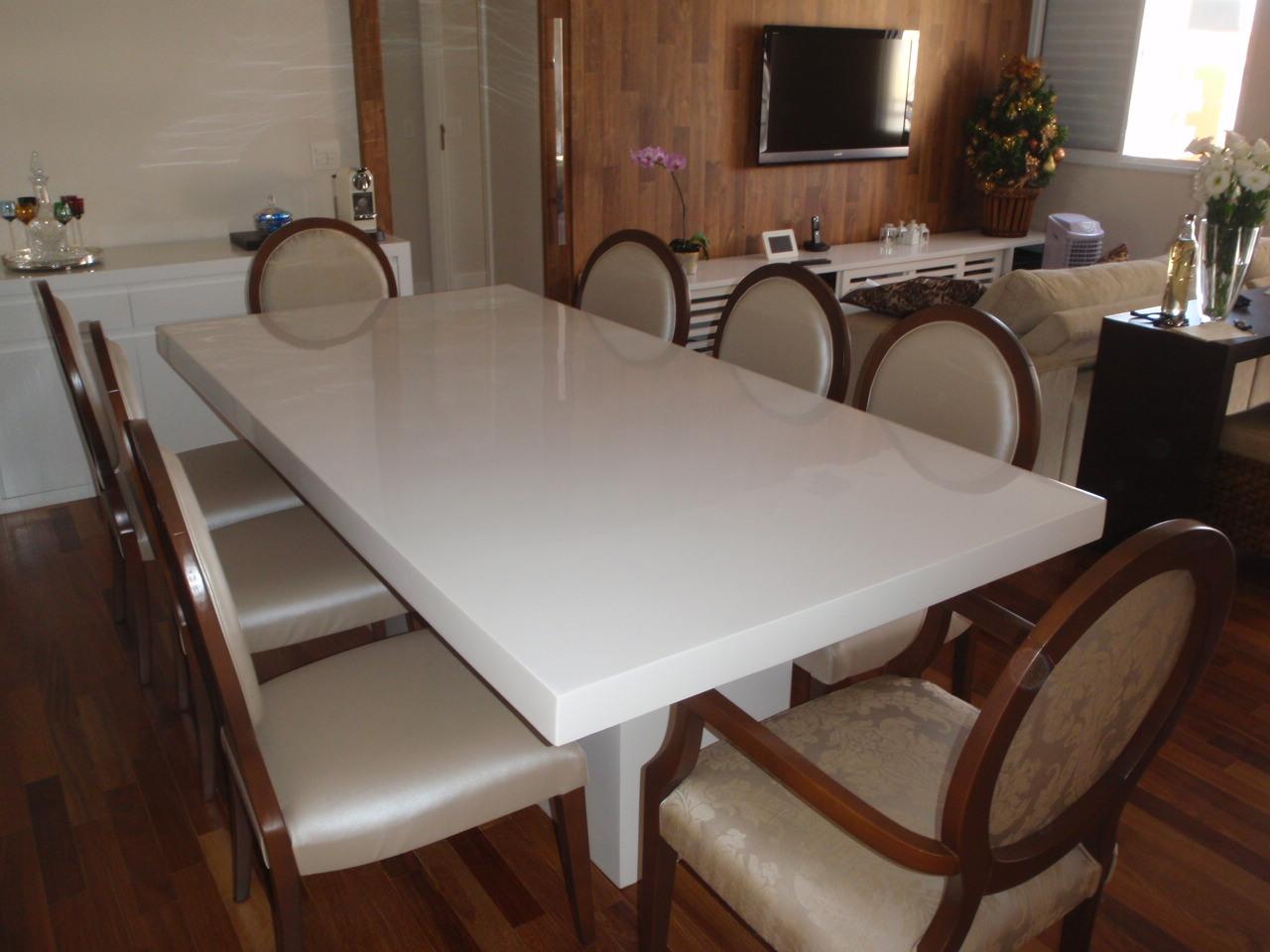 Sala De Jantar Resina Branca ~ Móveis Resinados Mesa de Jantar em resina Branca modelo SIMETRIA