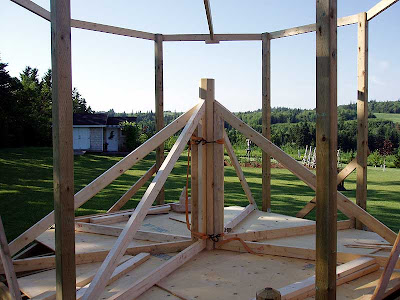 The main roof trusses being built.