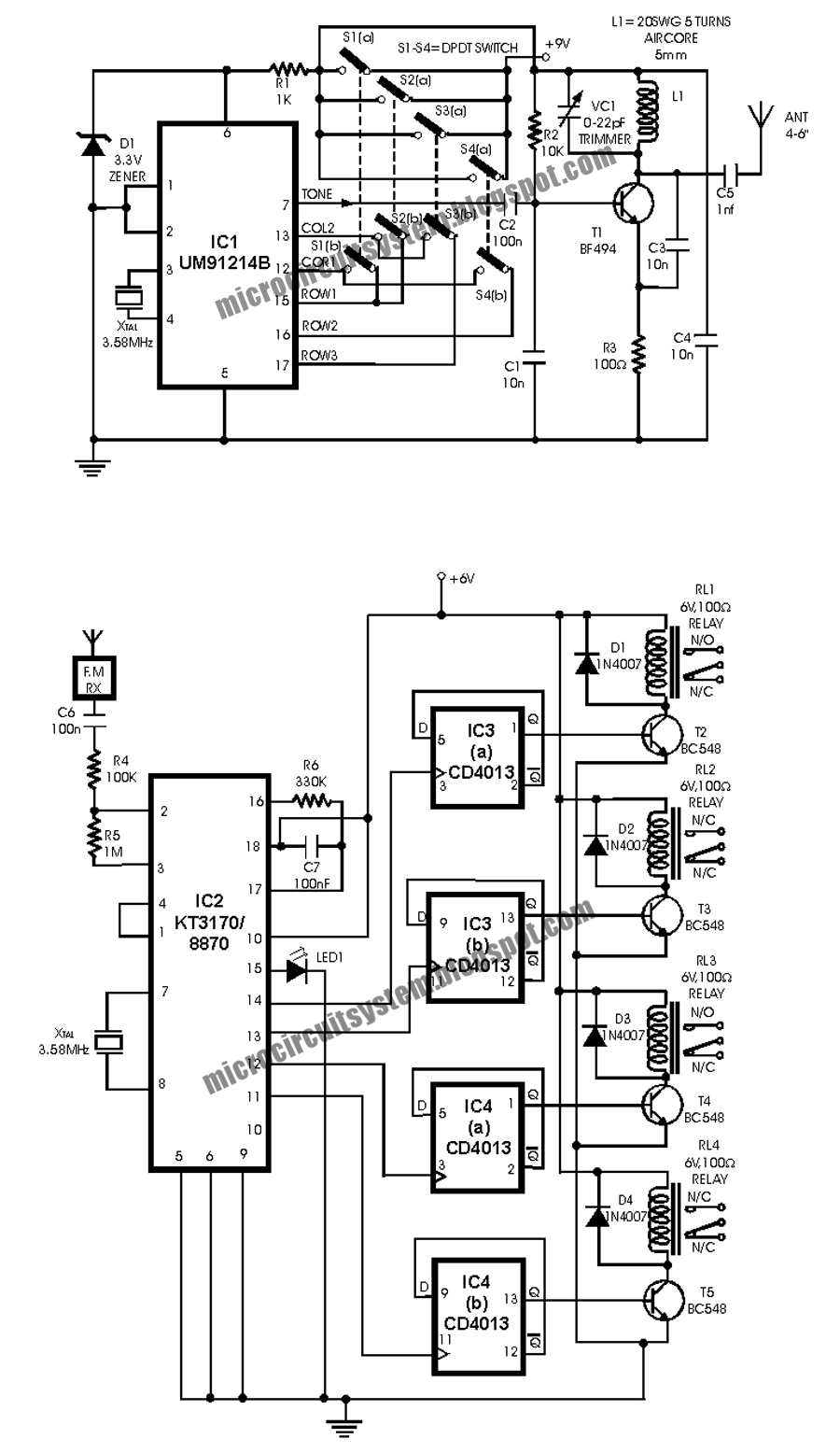 radio remote control circuit using dtmf