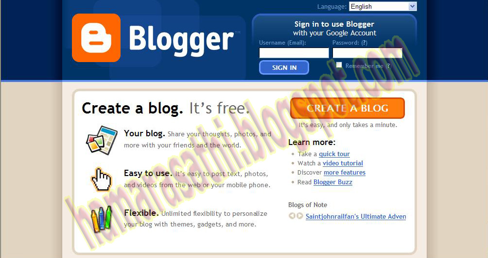 google blogger. a log in Google Blogger.