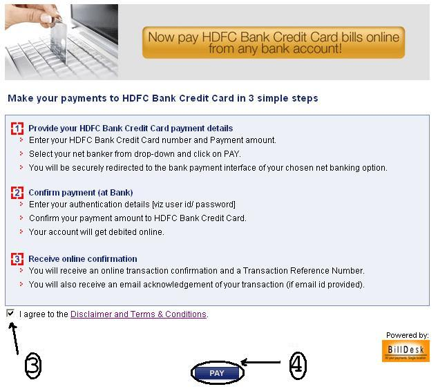 hdfc credit card card payment online other bank