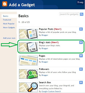 add Blogs Stats gadget in blogspot blogger