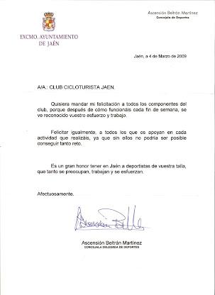 FELICITACION DE LA CONCEJALIA DE DEPORTES DE JAEN