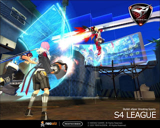 S4 League is a 3d Sci Fi Shooter with a Third Person view and a  techno beat. Play death match or touch down (capture the flag), matches  and earn money to purchase new weapons, skills, cloths, and hair &amp;  face styles. S4 fast paced skill driven game where even beginners can  defeat high level players