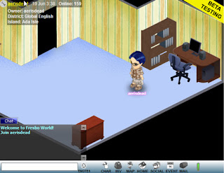 Fresbo World is a free to play socially orientated online world, offering a customizable avatar, a home to decorate and areas in which players can meet and socialize. Players can also arrange events and auction unwanted items, and games are available to play. The world has also been designed to allow users the ability to embed the client on social network pages.