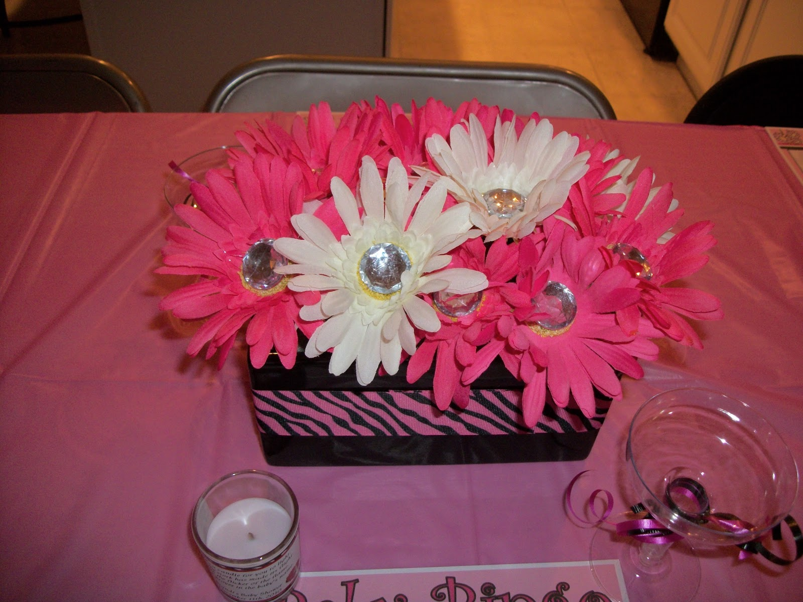kreations by Kristen: Black, White and Pink Zebra Print Baby Shower