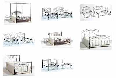 several wrought iron beds
