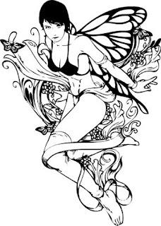 Tatoo desenhos fada em preto e branco