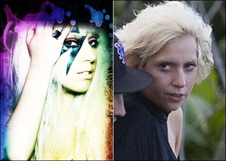 lady gaga without makeup and a wig. lady gaga no makeup and wig.