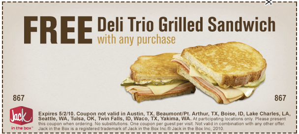 photo about Jack in the Box Printable Coupons known as JACK Inside of THE BOX: Totally free Grilled Sandwich with ANY Invest in