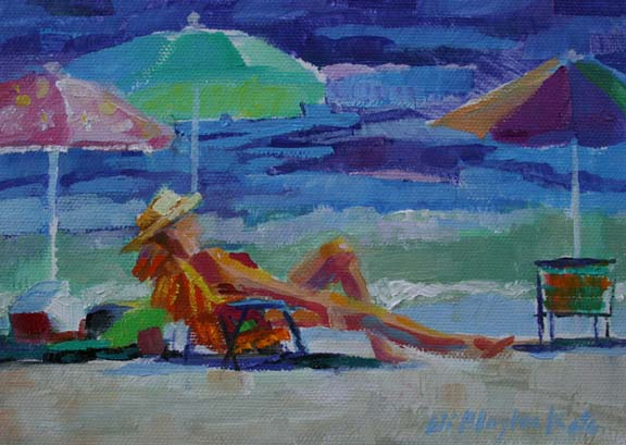 ... By Elizabeth Blaylock: OIL PAINTING OF WOMAN SOAKING UP THE SUN