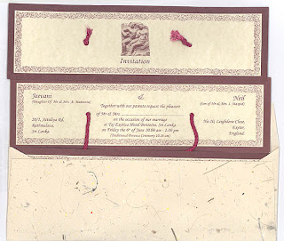 Wedding invitation in Sinhala and English with its envelope made from ...