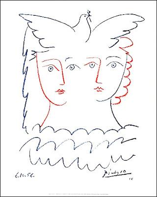 Deux entités et la colombe - Pablo Picasso