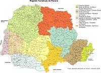 Mapa das 10 Regiões Turisticas do Paraná