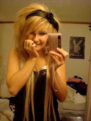 a typical Emo hairstyle. girls