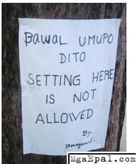 Bawal umupo at mag-set.