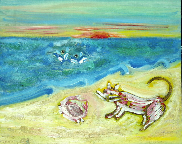 a poorly painted beach scene