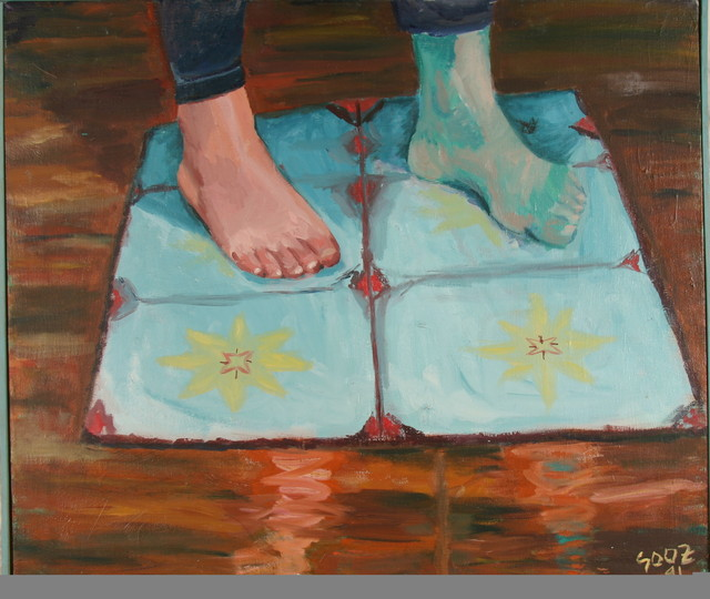 a painting in which one of the subject's feet is inexplicably blue