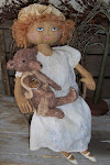PRIM FOLK ART DOLL & TEDDY BEAR