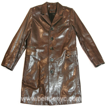 custom made olive leather carcoat
