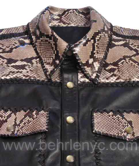 custom made leather and python shirt