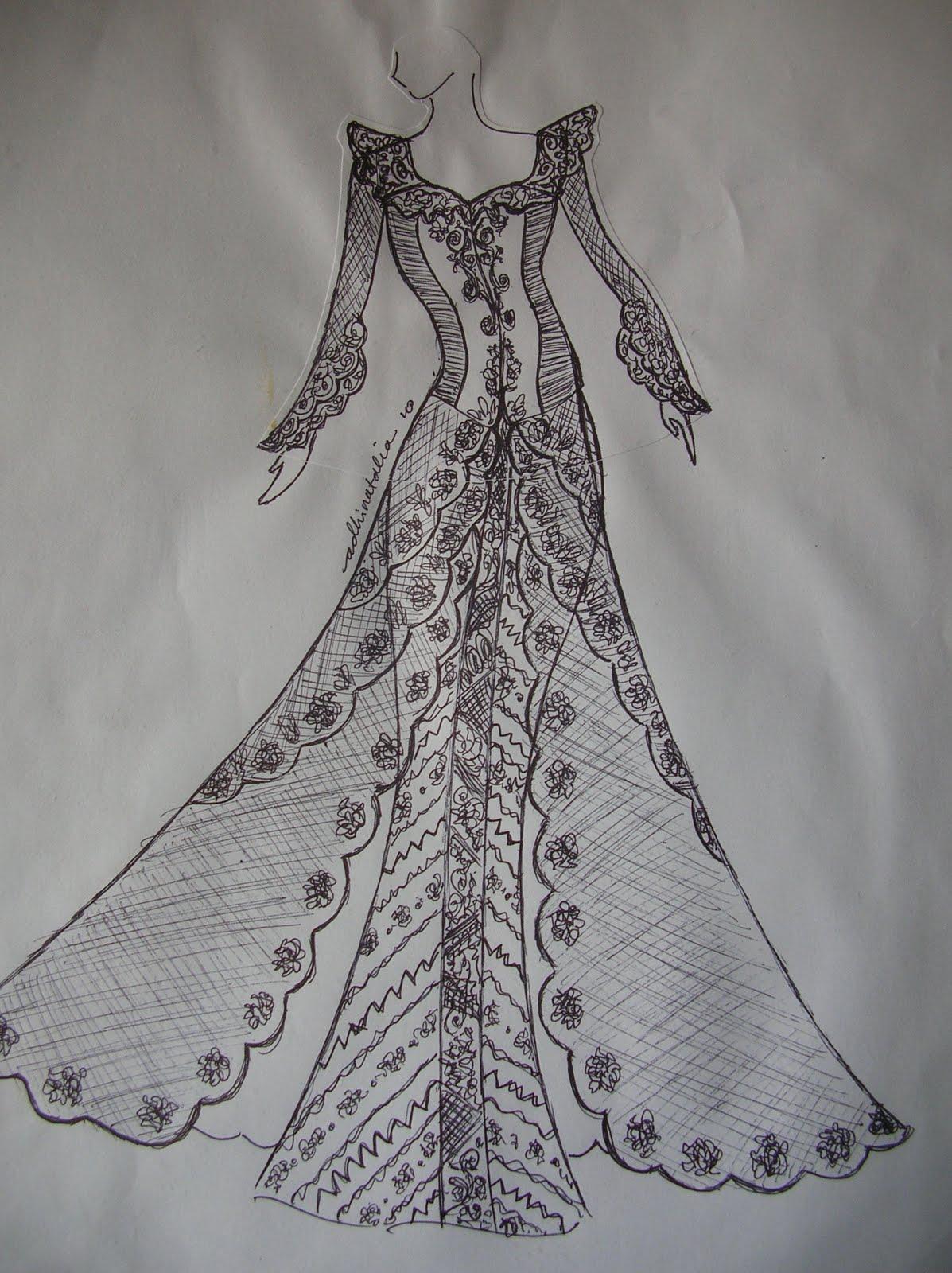 Sketsa Gambar Desain Baju Pengantin  Sobsketsa