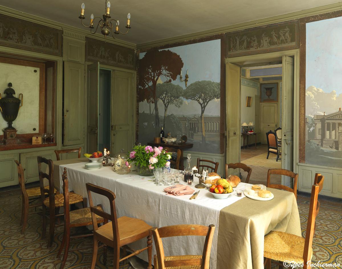 The ornamentalist pascal amblard demeures peintes - Papier peint salon salle a manger ...