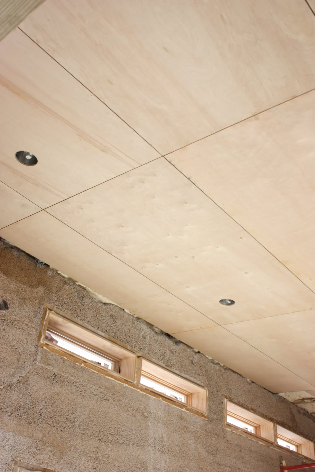 garage ceiling insulation ideas - The Push House Plywood Ceiling looks amazing