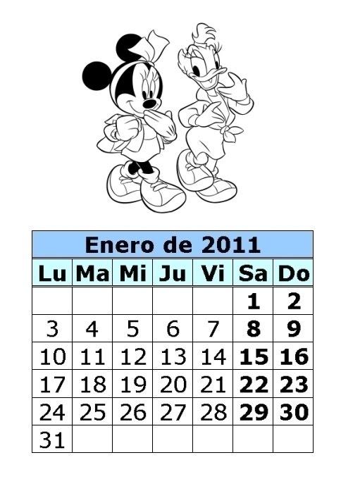 ... de Mickey y Minnie de 2011 (1ª parte) : Calendarios para imprimir