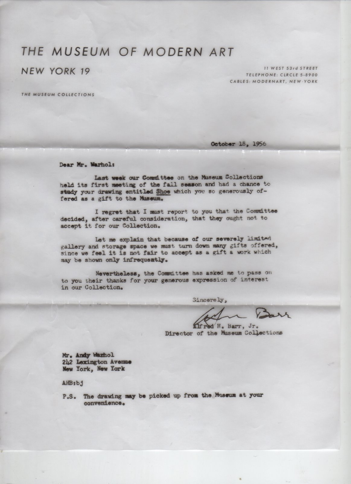 Andy Warhol rejection letter