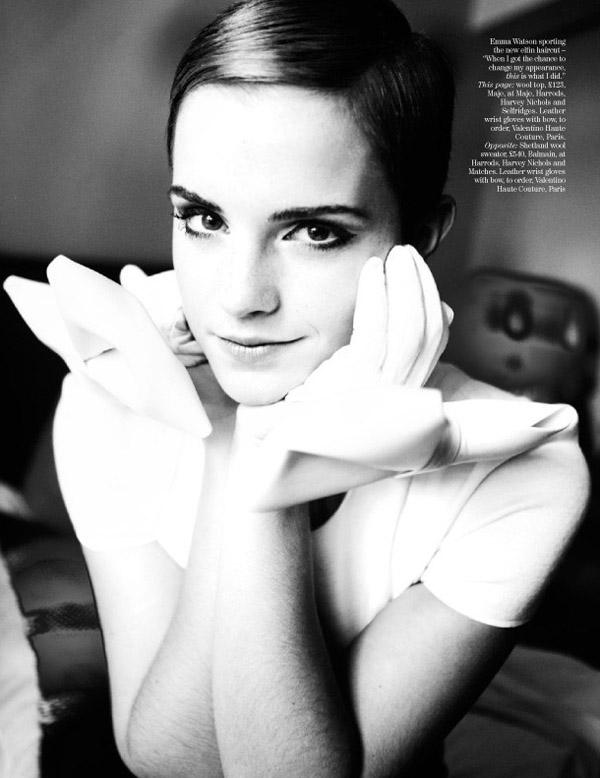 emma watson haircut burberry. Fashion: Emma Watson + Vogue