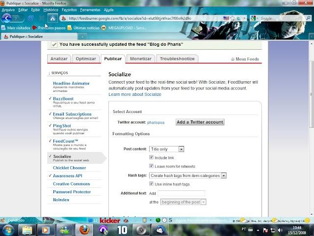 Integre seu feed ao Twitter com o FeedBurner Socialize