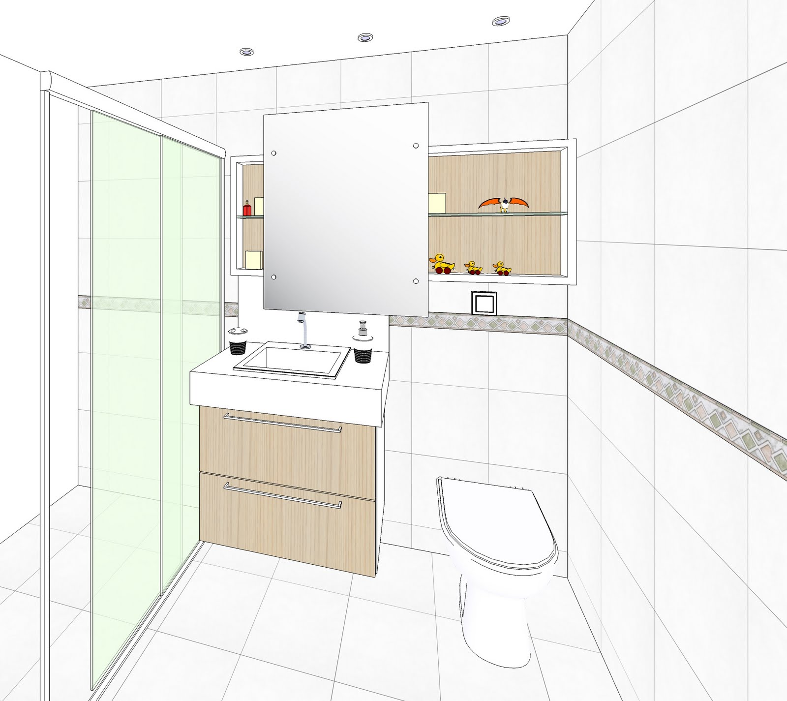 sketchup e vray banheiro -> Pia Banheiro Sketchup