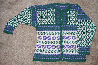 Norwegian Roses jacket from commercial merinos yarns.