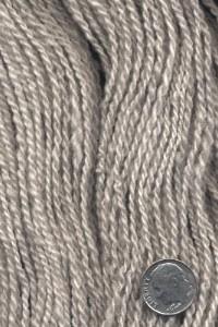 """Handspun silver Shetland yarn from """"Sass""""."""
