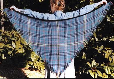 Kennedy tartan shawl woven on a tri-loom