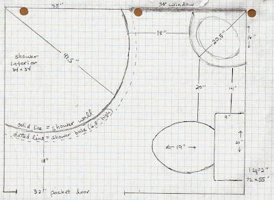 5 acres a dream bathroom plans on graph paper for Half size set of plans