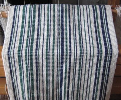 Leigh's barcode WW fabric off the loom.