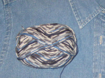 Multicolored blue sock yarn matches denim