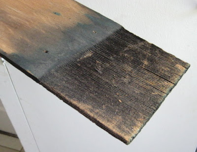 Original wood shingle, weathered with age.