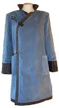 Abrigo de micropana terciopelo azul